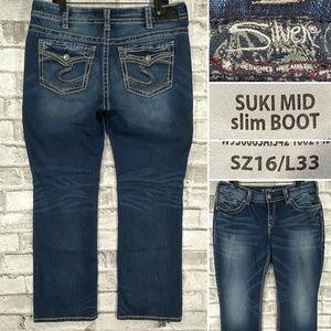 Silver Jeans SUKI Mid Slim Boot Sz 16 L33 Flap